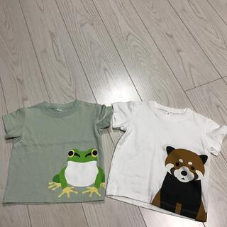 無印良品プリントTシャツかえるカエルあらいぐまmujiアニマル動物80サイズ