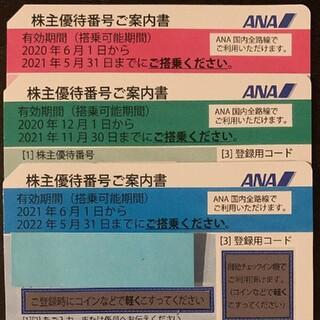 エーエヌエー(ゼンニッポンクウユ)(ANA(全日本空輸))の♪ANA 株主優待券♪3枚セット(その他)