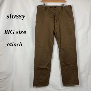 ステューシー(STUSSY)の☆ビッグサイズ☆ステューシー☆ワンポイント刺繍ロゴ☆チノパン☆34インチ(チノパン)