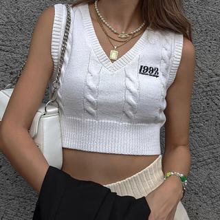 ACLENT Cable knit short vest(ニット/セーター)