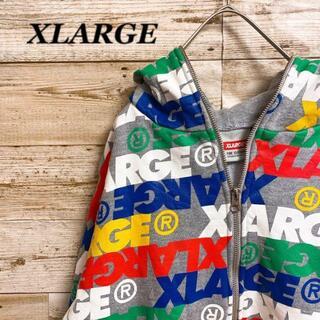 XLARGE - 《XLARAGE》グレー パーカー マルチカラー ロゴ 長袖 フルジップ M