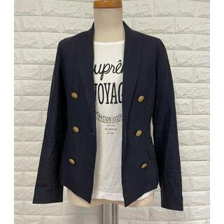 ユニクロ(UNIQLO)のUNIQLOユニクロ麻ダブル紺ブレジャケット夏羽織リメイク(ノーカラージャケット)