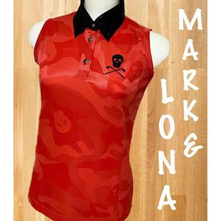 マークアンドロナ(MARK&LONA)の美品⛳️マークアンドロナ  スカル カモフラ ノースリーブポロシャツ(ウエア)