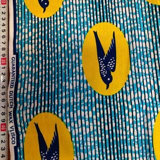121 ブルーイエローバード アフリカ布 50cm x 110cm バオバブ神戸(生地/糸)