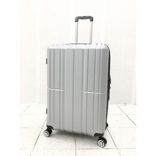 大型軽量スーツケース 8輪キャリーバッグ TSAロック付き Lサイズ シルバー(旅行用品)