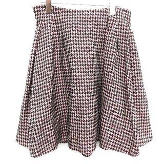 クリスチャンディオール(Christian Dior)のクリスチャンディオール スカート ひざ丈 フレア 千鳥格子柄 42 L ピンク(ひざ丈スカート)