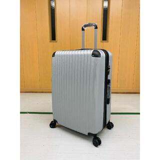 中型軽量スーツケース 8輪静音キャリーバッグ TSAロック付き Mサイズシルバー(旅行用品)