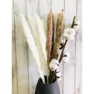 ドライフラワーインテリア パンパスグラスコットンフラワー 北欧 スワッグ花材(ドライフラワー)