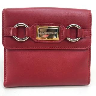 ドルチェアンドガッバーナ(DOLCE&GABBANA)のドルチェアンドガッバーナ ロゴプレート Wホック 2つ折り財布 レッド レザー(財布)