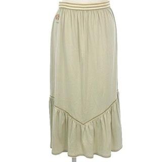 レオナール(LEONARD)のレオナール LEONARD スカート フレア ひざ丈 膝丈 ロゴ 刺繍 ベージュ(テレビ)