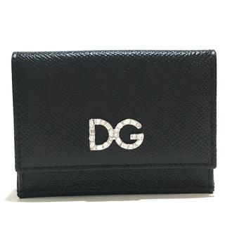ドルチェアンドガッバーナ(DOLCE&GABBANA)の未使用 ドルチェアンドガッバーナ ロゴラインストーン ブラック 3つ折り財布(財布)