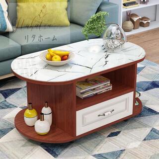 ローテーブル  リビングテーブル 収納付き 強化ガラス センターテーブル(ローテーブル)