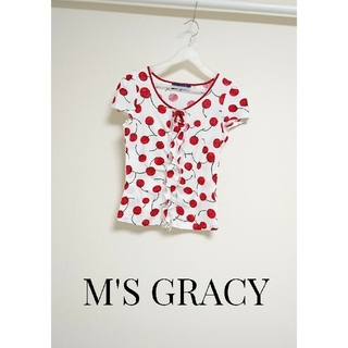 エムズグレイシー(M'S GRACY)のM'S GRACY さくらんぼ リボン トップス(Tシャツ(半袖/袖なし))