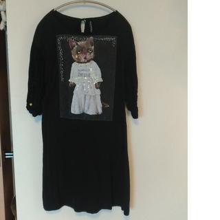 アチャチュムムチャチャ(AHCAHCUM.muchacha)のレア美品✴あちゃちゅむ 袖異素材切替 ネコ スパンコール チュニック ワンピース(Tシャツ(半袖/袖なし))