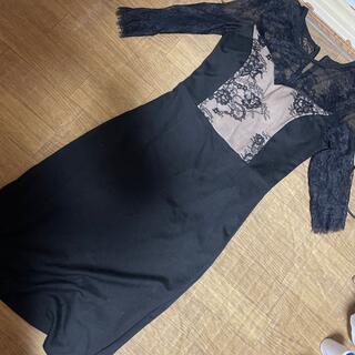 ドレス キャバドレス パーティードレス S size  ベージュ ブラック (ミニドレス)