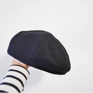 ユニクロ(UNIQLO)のUNIQLO ベレー帽 黒 black one size 帽子(ハンチング/ベレー帽)