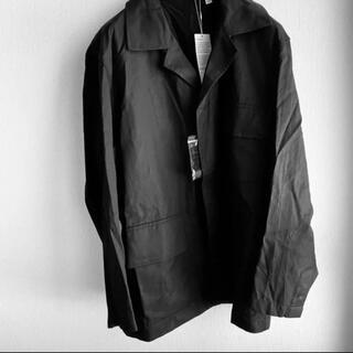 ユニクロ(UNIQLO)の+Jダブルフェイスオーバーサイズワークジャケット風ミリタリージャケット ブラック(ブルゾン)