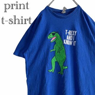 デルタ(DELTA)の【古着】T-REX ビッグプリント クルーネック Tシャツ L(Tシャツ/カットソー(半袖/袖なし))