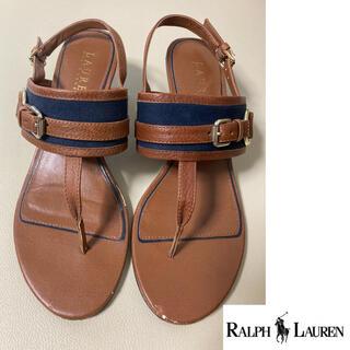 ラルフローレン(Ralph Lauren)のラルフローレン サンダル 23.5cm ブラウン ネイビー(サンダル)