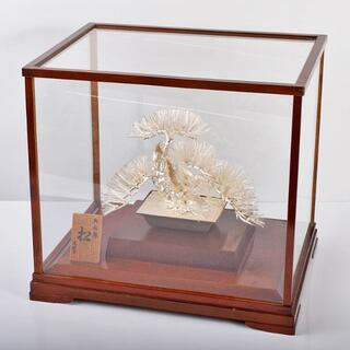 純銀製 大淵光則作 松盆栽 約244g 置物 ガラスケース付 V R3711B(彫刻/オブジェ)