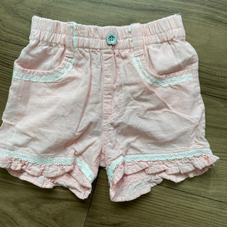 裾フリル ショートパンツ  ピンク& 花柄 ショートパンツ キュロット ピンク(パンツ/スパッツ)