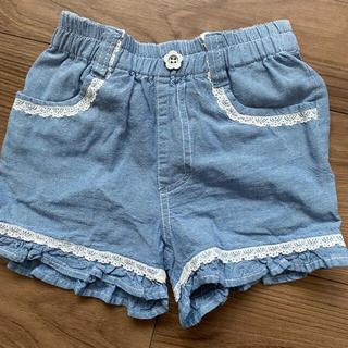 裾フリル ショートパンツ  ブルー& バックリボン&プリーツシフォン Tシャツ(パンツ/スパッツ)