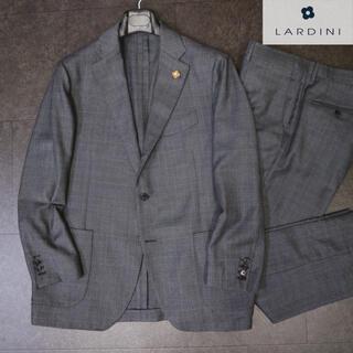 ブルネロクチネリ(BRUNELLO CUCINELLI)のラルディーニ 14万最高級サマーウールグレーチェックセットアップスーツ(テーラードジャケット)