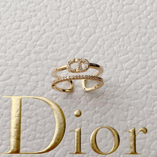 ディオール(Dior)のロゴリング ラインストーン 新品未使用✨(リング(指輪))