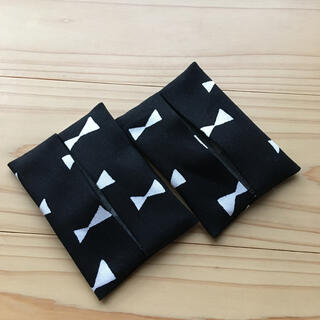 子ども 黒リボン ポケットティッシュケース(外出用品)