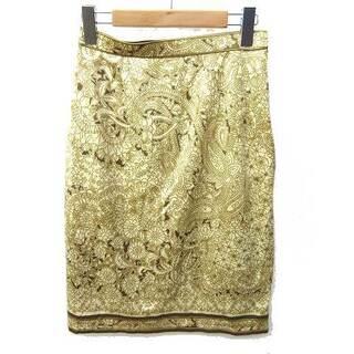 レオナール(LEONARD)のレオナール FASHION スカート ひざ丈 台形 総柄 67ベージュ ECR6(ひざ丈スカート)