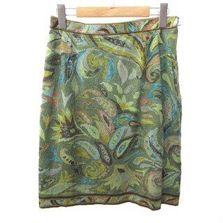 レオナール(LEONARD)のレオナール FASHION スカート ひざ丈 台形 総柄 シルク混 緑 ECR6(ひざ丈スカート)