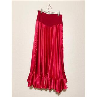 チャコット(CHACOTT)のチャコット 社交ダンス 赤スカート サテン お値下げ(ダンス/バレエ)