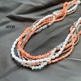エイボン(AVON)のAVON エイボン ネックレス ビーズ ピンク系 5連(ネックレス)