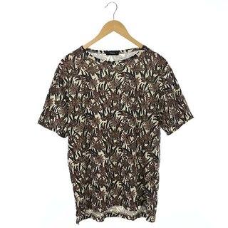 セオリー(theory)のセオリー 総柄プリントTシャツ カットソー 半袖 プルオーバー XS アイボリー(Tシャツ/カットソー(半袖/袖なし))