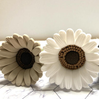 ガーベラ クレイフラワー ホワイト ベージュ 2本セット 造花(その他)