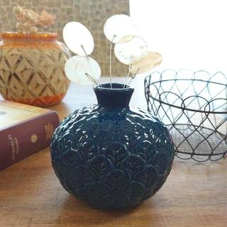 リーフエンボス フラワーベース 藍色(花瓶)