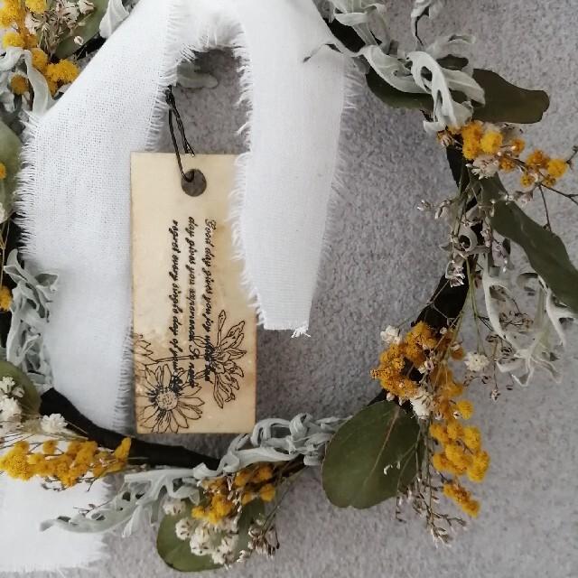 ユーカリとミモザの花冠 ハンドメイドのフラワー/ガーデン(ドライフラワー)の商品写真
