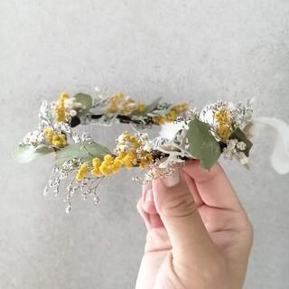 ユーカリとミモザの花冠(ドライフラワー)