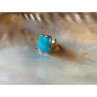 アリシアスタン(ALEXIA STAM)のアクアブルーストーンリング ゴールドリング スクエアターコイズリング(リング(指輪))