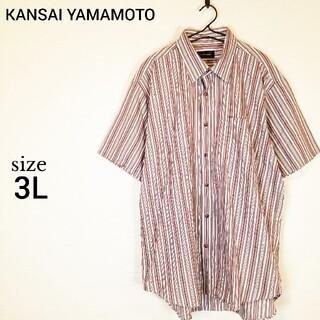 カンサイヤマモト(Kansai Yamamoto)のKANSAI YAMAMOTO シャツ 半袖 大きいサイズ  ストライプ 3L(シャツ)