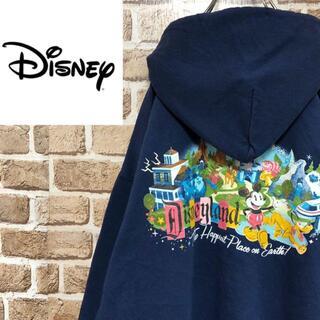 ディズニー(Disney)の☆ディズニーランド☆ミッキーマウス ジップパーカー スウェット ビッグサイズ 紺(パーカー)