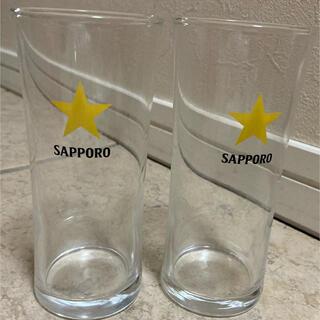サッポロ(サッポロ)の2客セット★昭和レトロ サッポロビールグラス ビールグラス サッポロビール 黄星(アルコールグッズ)