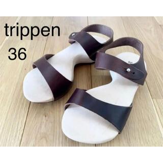 トリッペン(trippen)の新品★trippen ウッド レザーサンダル joy ブラウン36 ジョイ 茶色(サンダル)