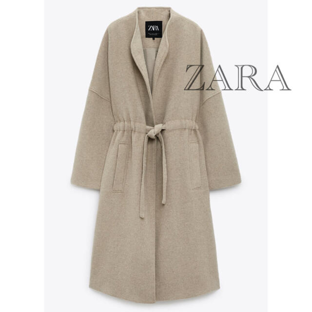ZARA(ザラ)の新品 タグ付き 未使用 ZARA ガウンコート ロングコート ベージュ L レディースのジャケット/アウター(ロングコート)の商品写真