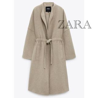 ZARA - 新品 タグ付き 未使用 ZARA ガウンコート ロングコート ベージュ L