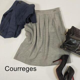 クレージュ(Courreges)のクレージュ シンプル ひざ丈スカート サイズ38 M グレー フォーマル ミディ(ひざ丈スカート)