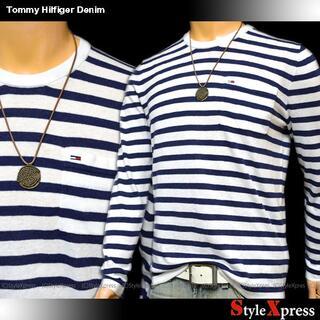 トミーヒルフィガー(TOMMY HILFIGER)の新品 トミーヒルフィガー デニム 白 紺 XS ボーダー リネン混 セーター(ニット/セーター)