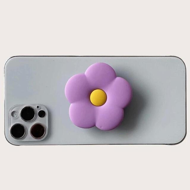 ポムポムプリン(ポムポムプリン)のスマホアクセサリー お花 スタンド ホルダー ライトパープル スマホ/家電/カメラのスマホアクセサリー(その他)の商品写真