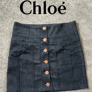 クロエ(Chloe)の【美品】Chloe デニムスカート  ミニスカート サイズXS~S(ミニスカート)