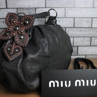 miumiu - MIUMIU ミュウミュウ レザー ブラック ハンドバッグ 2WAY
